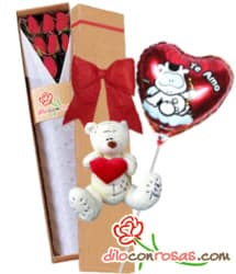 i-quiero.com - 6 rosas, Globo y Peluche por el dia de la amistad - Codigo:VLN29 - Detalles: Exclusiva caja ecologica Diloconrosas conteniendo 6 rosas rojas importadas de tallo largo, Tierno oso
