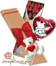 i-quiero.com - Caja de 12 rosas, Peluche y Globo por San valentin - Codigo:VLN31 - Detalles: Exclusiva caja ecologica Diloconrosas conteniendo 12 rosas rojas importadas de tallo largo, Tierno oso