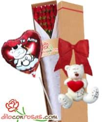 i-quiero.com - Caja de 24 rosas importadas, Oso de Peluche  y Globo - San Valentin - Codigo:VLN33 - Detalles: Exclusiva caja ecologica Diloconrosas conteniendo 24 rosas rojas importadas de tallo largo, Tierno oso