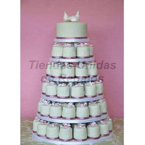 Tortas para Bodas | Tortas de Bodas | Torta a base de Cupcakes - Cod:WAM82