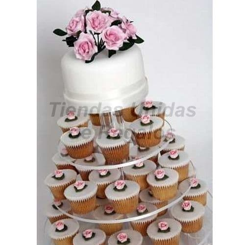 Tortas de Matrimonio | Mini tortas para Matrimonio con Flores - Cod:WAM83