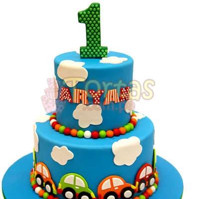 Torta con Carritos de azucar - Cod:WAS30