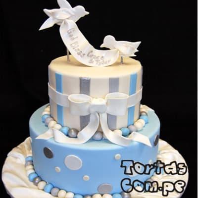 Tortas de Bautizo para niño | Tortas de Bautizo | Torta bautizo - Cod:WBC04