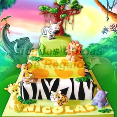 Torta Jungla con Animalitos - Whatsapp: 980-660044