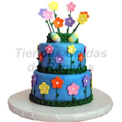 Torta para niña con Flores de azucar | Delivery de de Tortas en Lima | Tortas a Peru - Cod:WBE13