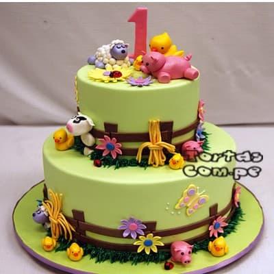 Torta de Animalitos de la Granja | Delivery de de Tortas en Lima | Tortas a Peru - Cod:WBE47