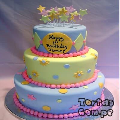 Torta para Niña con estrellas - Whatsapp: 980-660044