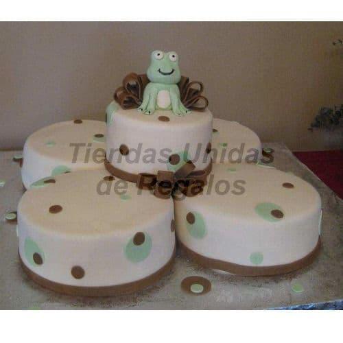 I-quiero.com - Torta Ni�o 79 - Codigo:WBE79 - Detalles: Deliciosos queques De Vainillaes rellenos  de frutas secas, pasas, decorada finamente en masa el�stica. 4 kekes en la base de 20cm de diametro y uno en la parte superior de 15cm. Rinde 100 porciones. incluye ranita en azucar y decoraci�n de tortas. - - Para mayores informes llamenos al Telf: 225-5120 o 476-0753.