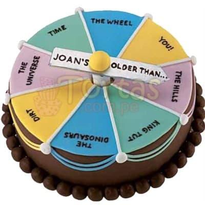 I-quiero.com - Torta Ruleta 86 - Codigo:WBE86 - Detalles: Torta de 20x30cm con dise�o de 4 frases para jugar a la ruleta, incluye fecha. Todo el decorado es en masa el�stica.  - - Para mayores informes llamenos al Telf: 225-5120 o 476-0753.