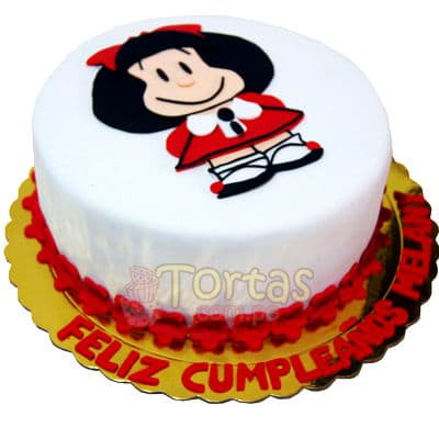 Torta Mafalda - Codigo:WDA14 - Detalles: Delicioso queque De Vainilla  y decorado finamente con masa elastica en tama�o de 20cm de diametro, incluye nombre y fotoimpresion de mafalda segun imagen. Base de aluminio para una perfecta presentacion. - - Para mayores informes llamenos al Telf: 225-5120 o 4760-753.