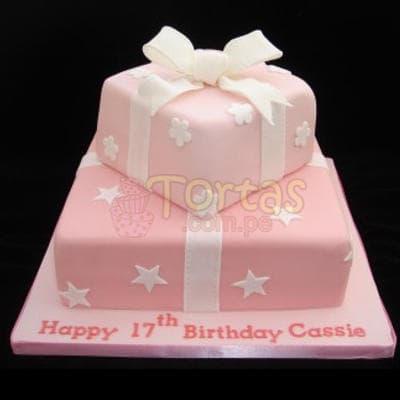 Torta Dama 17 - Codigo:WDA17 - Detalles: Deliciosas  torta   y   decorado  finamente en masa el�stica,Med. 1er nivel 25 x 25 2do nivel 15 x 15cm. - - Para mayores informes llamenos al Telf: 225-5120 o 4760-753.
