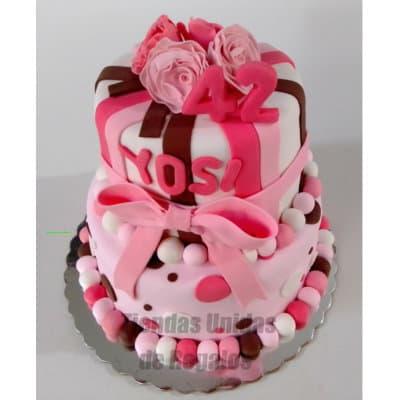 Torta para dama con flores | Torta cumpleaños mujer | Pasteles para Mujer - Cod:WDA32