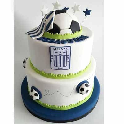 Torta Alianza Lima con Pelota | Torta Futbol | Pastel futbol - Cod:WFU16