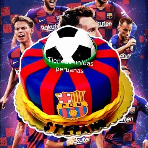 Torta de Barcelona FC | Tortas de Equipos | Torta Futbol | Pastel futbol - Cod:WFU02