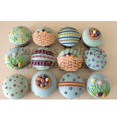 I-quiero.com - Muffin Art�stico 04 - Codigo:WMF04 - Detalles: 12 muffins finamente decorados con masa el�stica y figuras representativas de huevos de pascua, flores, estrellas. Este producto se entregara 24 horas despu�s de realizar el pedido. - - Para mayores informes llamenos al Telf: 225-5120 o 476-0753.