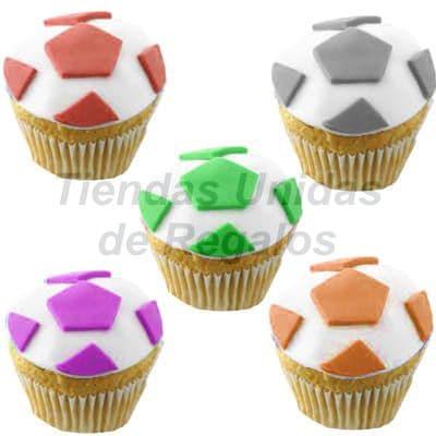 Desayunosperu.com - Muffin Art�stico  21 - Codigo:WMF21 - Detalles: 5 muffins finamente decorados con masa el�stica y figuras representativas de pelota de f�tbol. - - Para mayores informes llamenos al Telf: 225-5120 o 476-0753.
