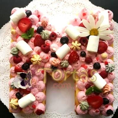 Tarta Letras y Flores 01- Whatsapp: 980-660044