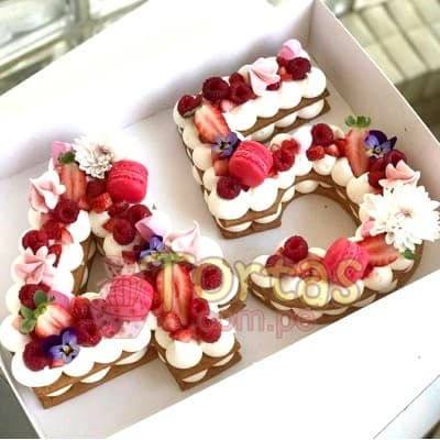 Torta Flres y Letras 08 - Whatsapp: 980-660044