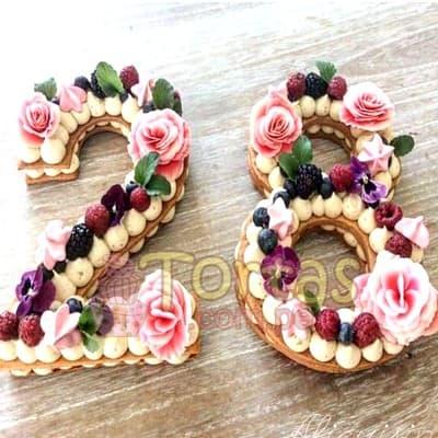 Tortas de letras con Flores | Tortas de Letras | Tortas de Numeros - Whatsapp: 980-660044