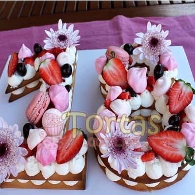 Torta Flores y Numeros 12 - Whatsapp: 980-660044