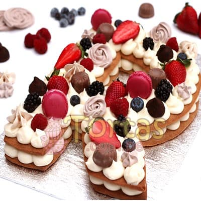 Torta Flores y Numeros 03 - Whatsapp: 980-660044