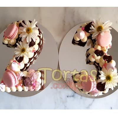 Torta con Numero | Tortas Flores y Numeros 15 - Whatsapp: 980-660044