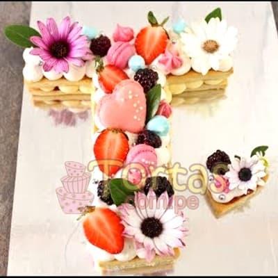 Tortas con Numeros y flores - Whatsapp: 980-660044