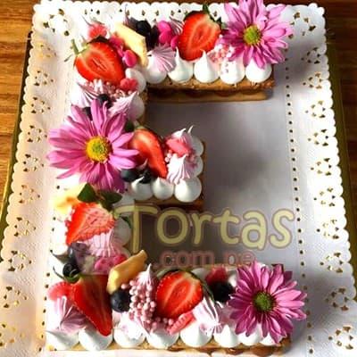 Torta con Numero | Torta Letra y Flores 18 - Whatsapp: 980-660044