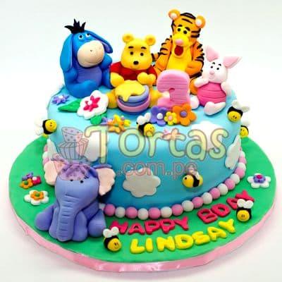 Torta Osito Pooh y amigos | Tortas Infantiles para niños | Torta Winnie pooh - Whatsapp: 980-660044