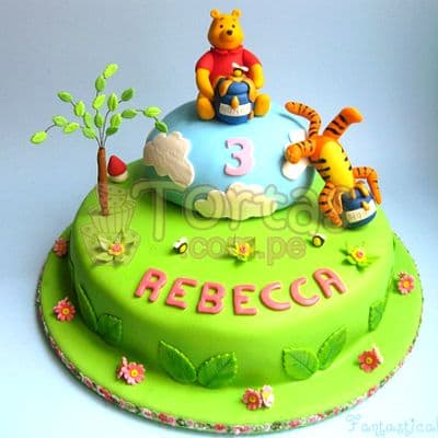 Torta Winnie Pooh y miel | Tortas Infantiles para niños | Torta Winnie pooh - Whatsapp: 980-660044