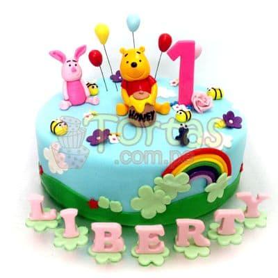 Torta Winnie Pooh y numero - Cod:WPO10