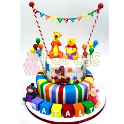 Torta Winnie Pooh de fiesta   Tortas Infantiles para niños   Torta Winnie pooh - Whatsapp: 980-660044
