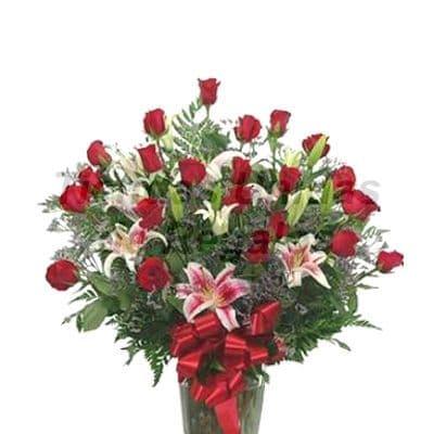 Florero 11 | Arreglos florales en Floreros de Vidrio | Floreros con Rosas - Cod:XFR11