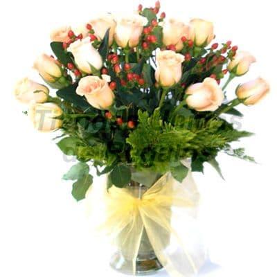 Florero 22 | Arreglos florales en Floreros de Vidrio | Floreros con Rosas - Cod:XFR22