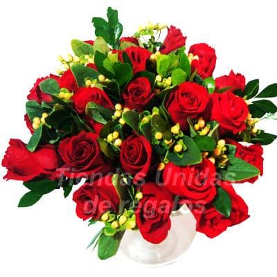 Florero 26 | Arreglos florales en Floreros de Vidrio | Floreros con Rosas - Cod:XFR26