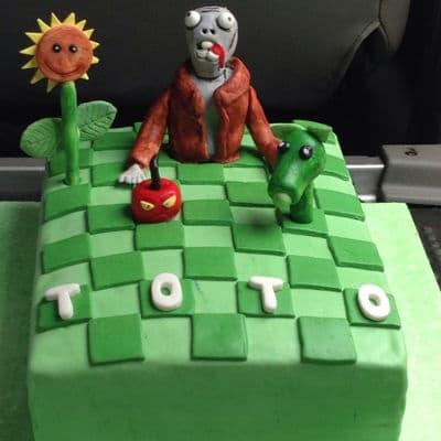 Torta con diseño de Zombies vs Plants  - Cod:ZVP06
