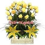 Rosas Importadas | Arreglo de Rosas Amarillas con Liliums | Rosas Arreglos - Cod:ARL35