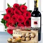 Florerias Lima | Arreglos florales | Arreglo de Rosas y Chocolates con vino - Cod:ENL07