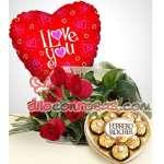 Arreglo con Rosas | Regalos con Chocolates y Globo | Flores delivery Lima - Cod:ENL24