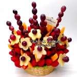Arreglos Frutales Delivery | Frutero con Fruta y Chocolate en Cesta - Cod:FCF05