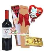 Caja con Rosas, Globo, Bombones y Vino Tinto | Rosas Delivery - Cod:LIC13