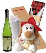 Vino Especial con Ramo de Rosas y peluche | Rosas Delivery - Cod:LIC08