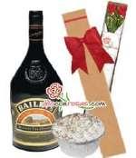 Caja con rosas y Baileys y postre | Rosas Delivery - Cod:LIC09
