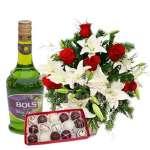 Licor de Manzana, Bombones y Arreglo de Flores  | Rosas Delivery | | Arreglos con Licor - Cod:LIC21