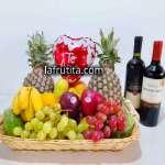Cesta de Frutas con Cava | Regalos con licores para damas | Cesta de Frutas con vinos - Cod:LVN07