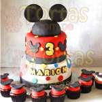 Torta Mickey con Cupcakes | Tortas De Mickey Mouse - Cod:MCK07