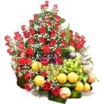 Arreglo de Frutas con Rosas Importadas | Arreglos de Frutas con Rosas - Cod:QFA02