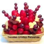 Cestas de frutas y Chocolate | Arreglo Frutal en Cesta de mimbre - Cod:QFP02