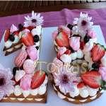 Torta Flores y Numeros 12 | Torta de Letras o Números - Cod:WNU12