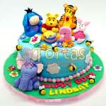 Torta Osito Pooh y amigos   Tortas Infantiles para niños   Torta Winnie pooh - Cod:WPO02